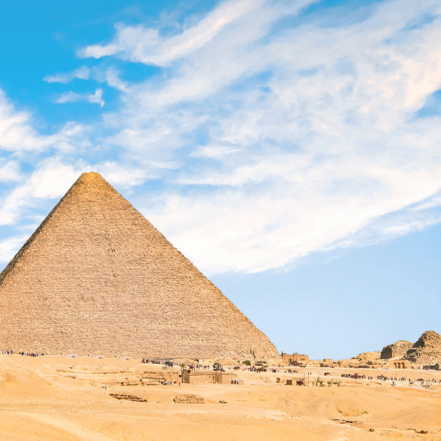 """""""Pyramids Out in Sahara Desert Viewed from Cairo, Egypt"""" stock image"""