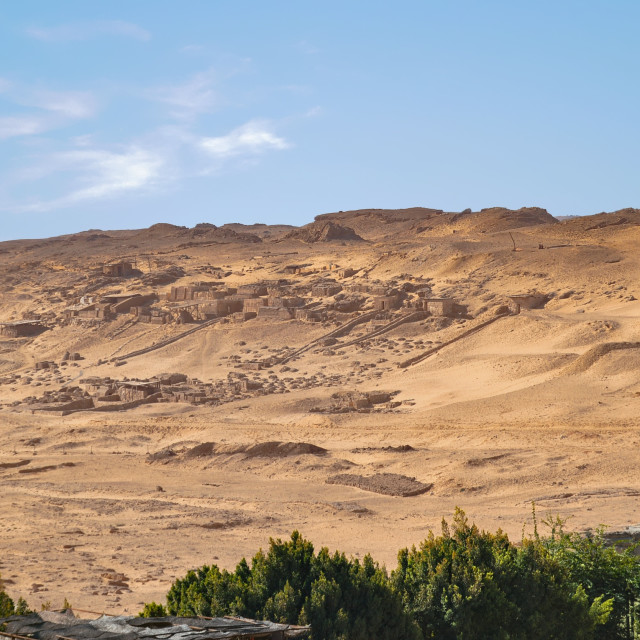 """""""View of Desert Excavations from Cairo, Egypt"""" stock image"""