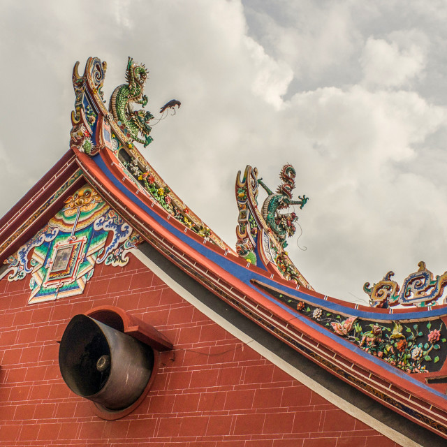 """""""Chinese Temple With Very Ornate Rooftop In Malaysia"""" stock image"""