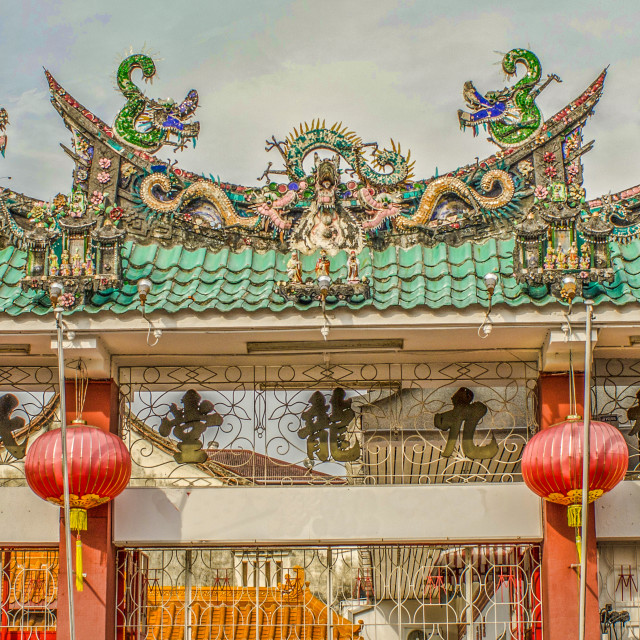 """""""Ornate Gateway to Chinese Temple in Penang, Malaysia"""" stock image"""