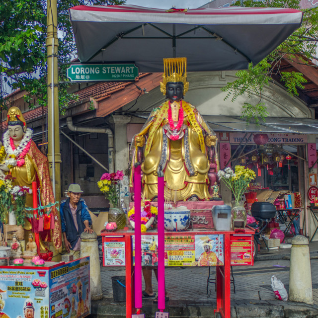 """""""Two Statues For Offerings on Lorong Stewart in Penang"""" stock image"""