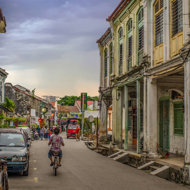 """View Down Love Lane in Penang, Malaysia"" stock image"