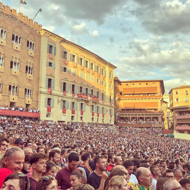 """Spectators at the Palio di Siena"" stock image"