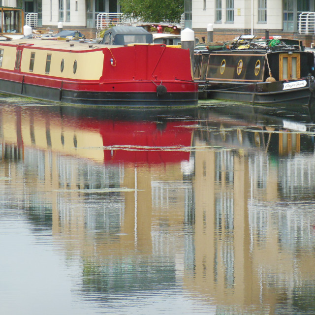 """""""Narrow Boat Relections"""" stock image"""