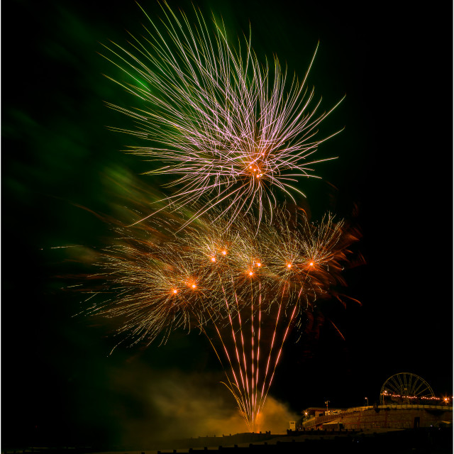"""""""The fireworks to mark the end of Airbourne 2019"""" stock image"""