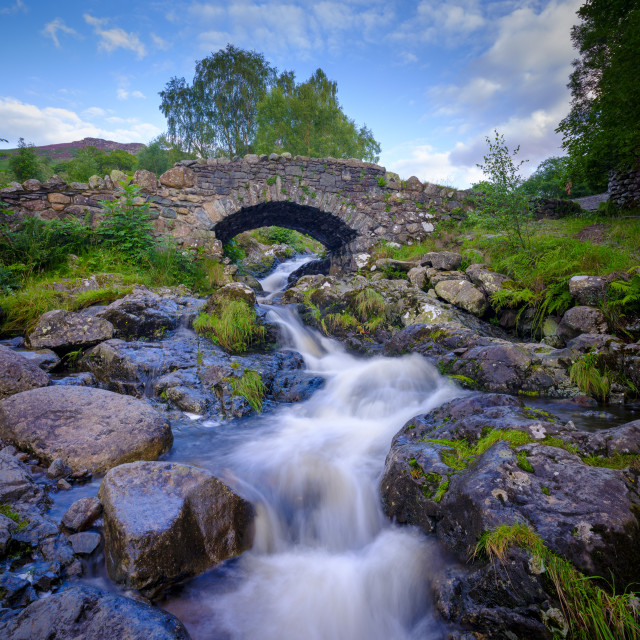 """Ashness Bridge near Watendlath with streams from heavy August ra"" stock image"