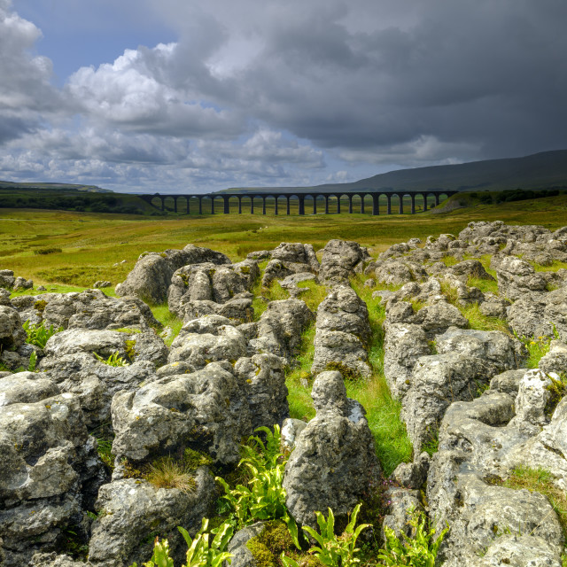 """Storm clouds over Ribblehead Viaduct, North Yorkshire Dales"" stock image"