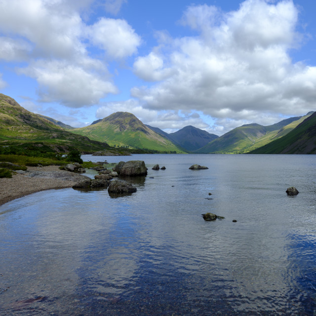 """Wast Water towards Wasdale and Scafell Pike, Lake District, UK"" stock image"