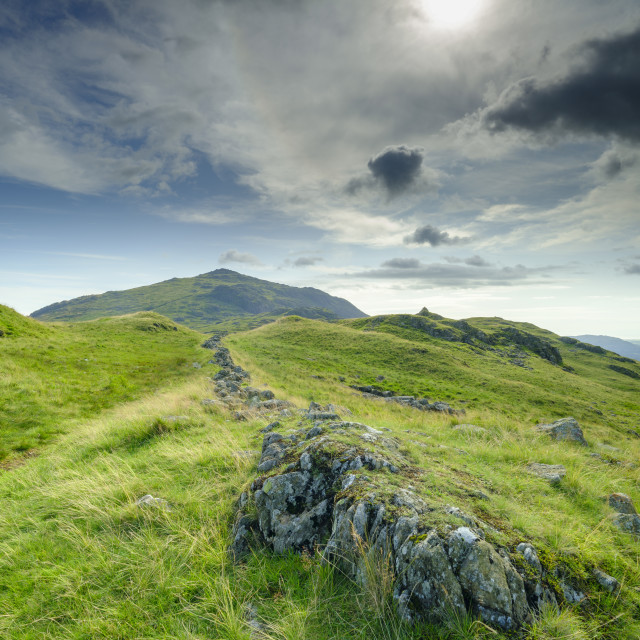 """Views towards Eskdale from the summit of Hardknott Pass, Lake Di"" stock image"