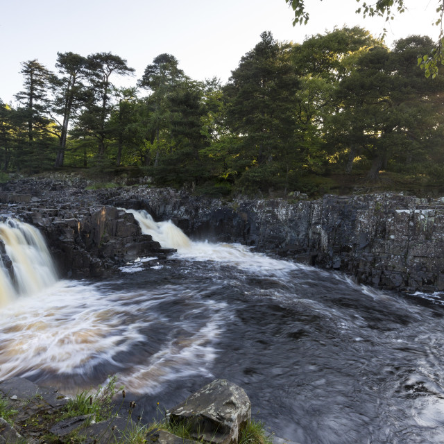 """Low Force Illuminated by the rising sun, Upper Teesdale"" stock image"