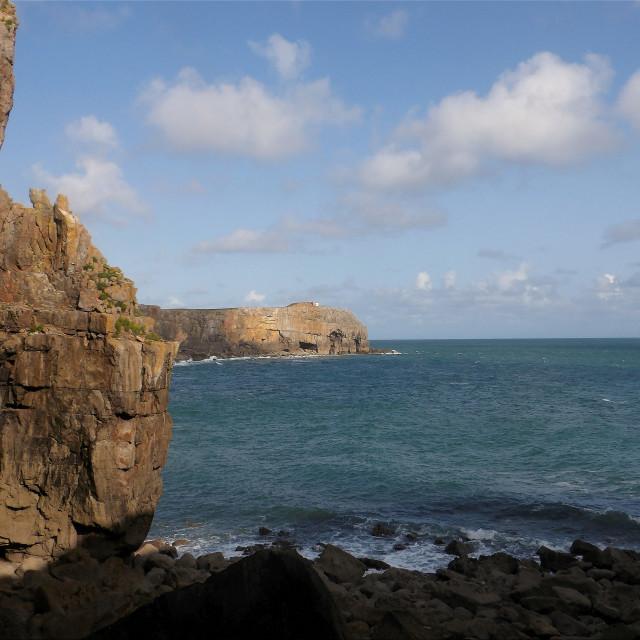 """St Govan's Head on Pembrokeshire coast"" stock image"