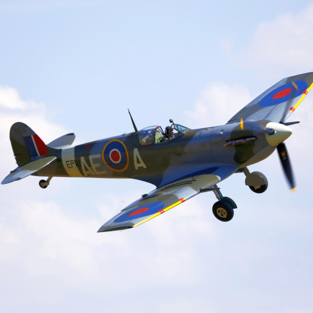 """Spitfire EP120 on approach to Duxford"" stock image"