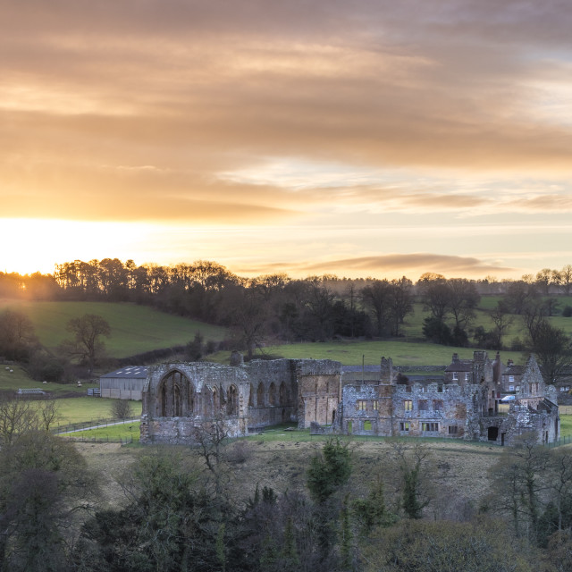 """Egglestone Abbey Sunset, Teesdale, County Durham"" stock image"