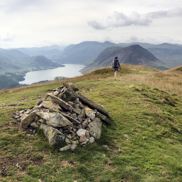 """""""The Summit Cairn on Low Fell, Lake District, Cumbria, UK"""" stock image"""