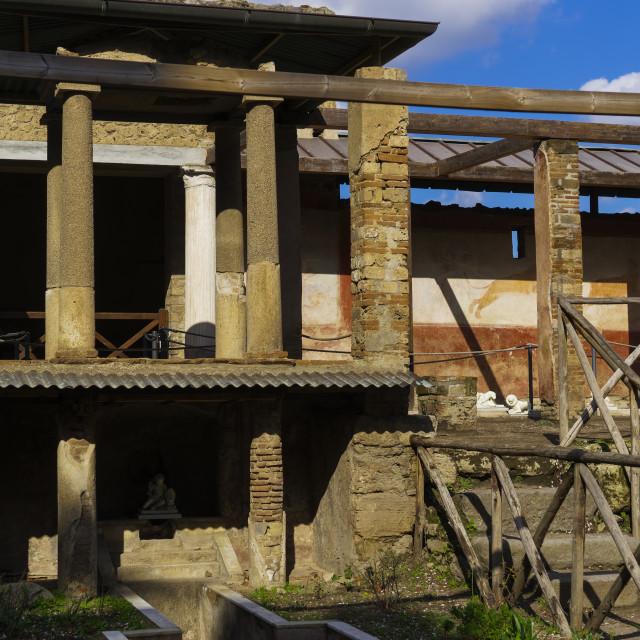"""Pompeii, Italy House of Octavius Quartio with colonnade."" stock image"
