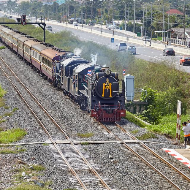 """Steam Train at Bang Pa-In, Thailand"" stock image"