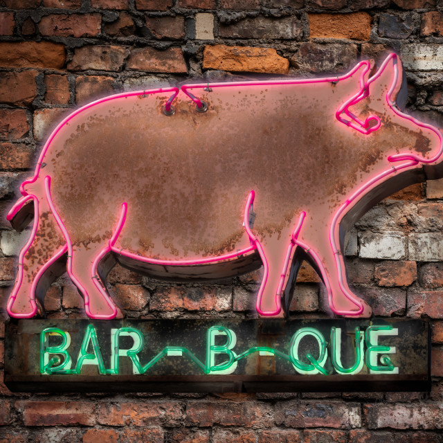 """Neon Barbecue Diner Sign"" stock image"