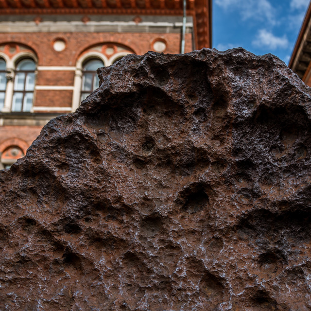 """""""Close up of the iron meteorite Agpalilik outside the Geological"""" stock image"""