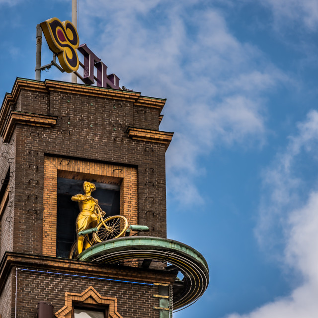 """sclulpture at the top of the tower of Rich house, Copenhagen"" stock image"