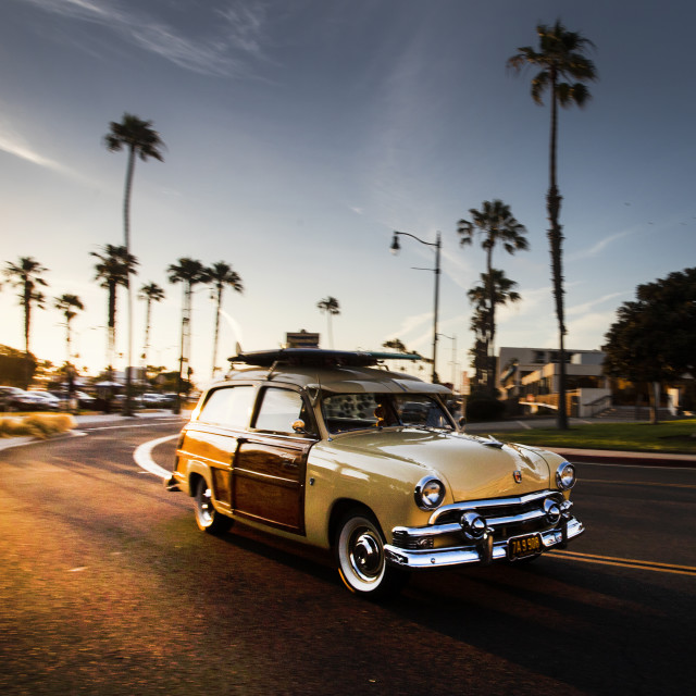"""A 'Woodie' leaving the car show"" stock image"