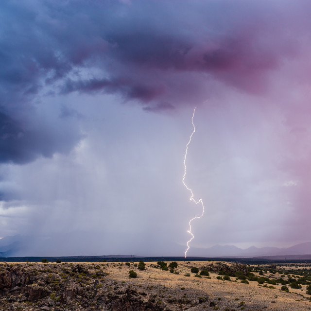 """Thunderstorm with lightning strike"" stock image"