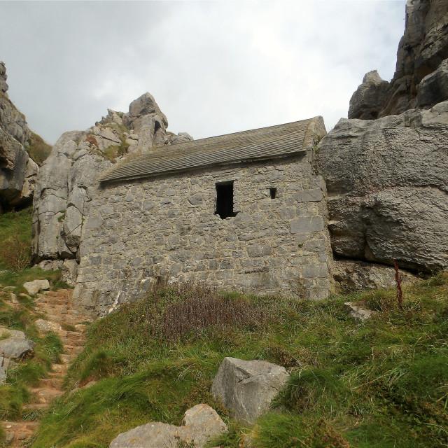 """St Govan's Chapel in Pembrokeshire"" stock image"
