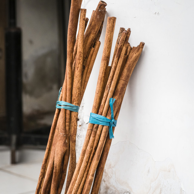 """Large cinnamon sticks at an Asian market"" stock image"