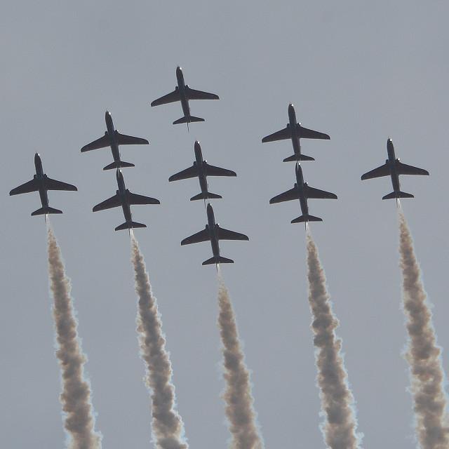 """RAF Red Arrows Diamond Loop over Aldergrove ii"" stock image"