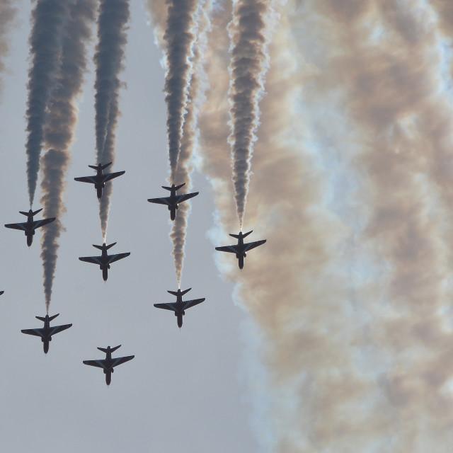 """RAF Red Arrows Diamond Loop over Aldergrove iv"" stock image"