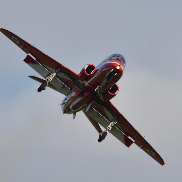 """RAF Red Arrows Hawk at Aldergrove"" stock image"