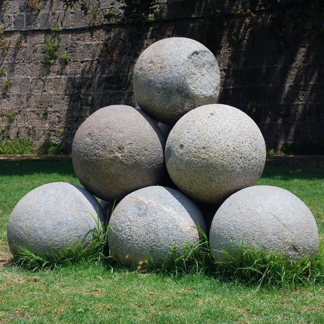 """Stone cannonballs, Rhodes"" stock image"