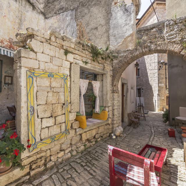 """Narrow stone street, Bale, Istria, Croatia"" stock image"
