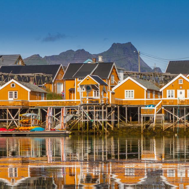 """""""Sakrisøy on the Lofoten in Norway"""" stock image"""