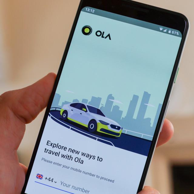 """Ola rideshare app"" stock image"