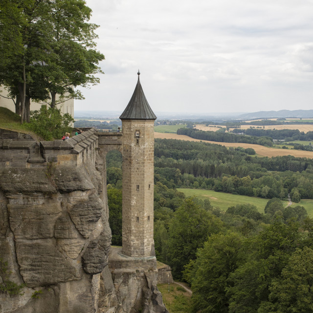 """""""The Hunger tower of the medieval Königstein Fortress in Germany"""" stock image"""