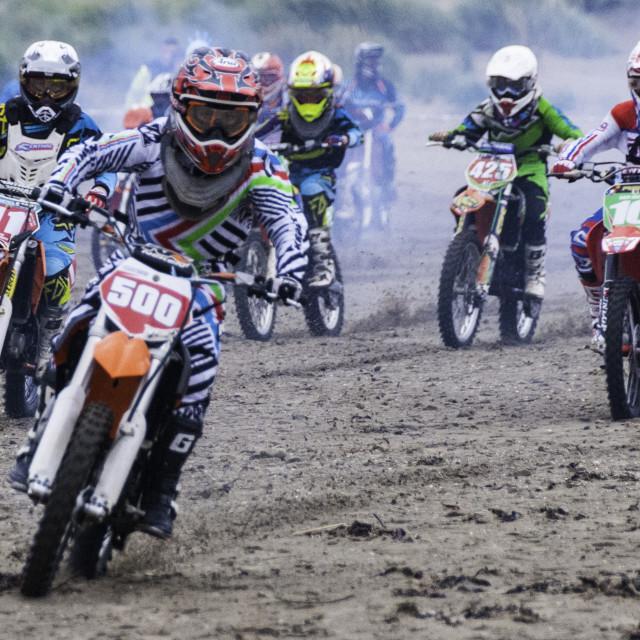 """Motorbikes sand racing at Barmouth"" stock image"
