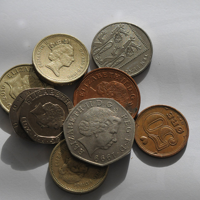 """""""British coins wit portrait with H.M.The Queen"""" stock image"""