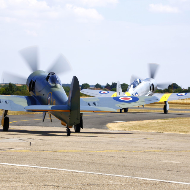 """Sea Furies taxying out to the runway"" stock image"