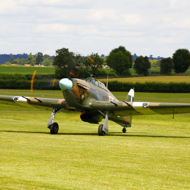 """Hawker Hurricane taxies in"" stock image"