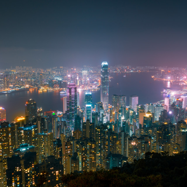 """Victoria Harbour and Hong Kong City by night from Victoria Peak"" stock image"
