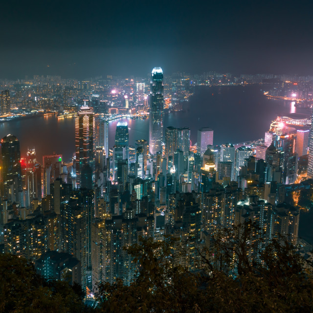 """Residential towers of Wan Chai, Hong Kong, from Victoria Peak //"" stock image"