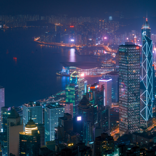 """Hong Kong island by night from Victoria Peak // Hong Kong, China"" stock image"