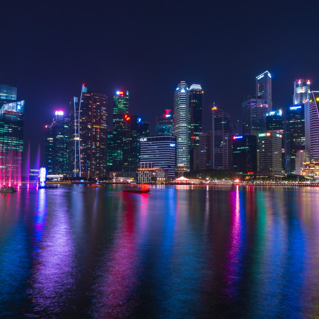 """Dancing lights of Marina Bay // Singapore, Singapore"" stock image"