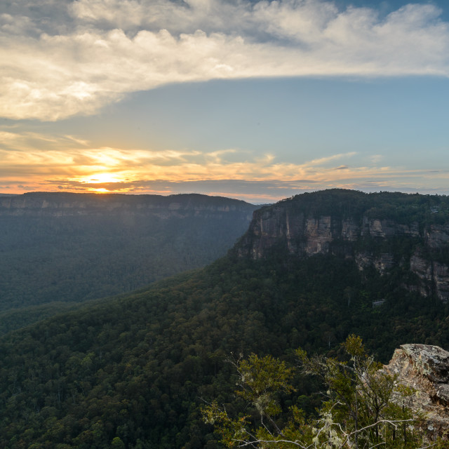 """Sunset over the plateau // Blue Mountains, Australia"" stock image"