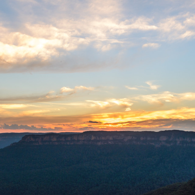 """Sunset over Mount Solitary // Blue Mountains, Australia"" stock image"