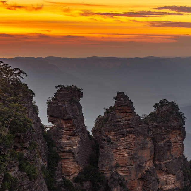"""Sunrise over the Three Sisters // Blue Mountains, Australia"" stock image"