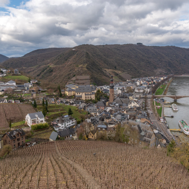 """River Moselle and Countryside / Cochem, Germany"" stock image"