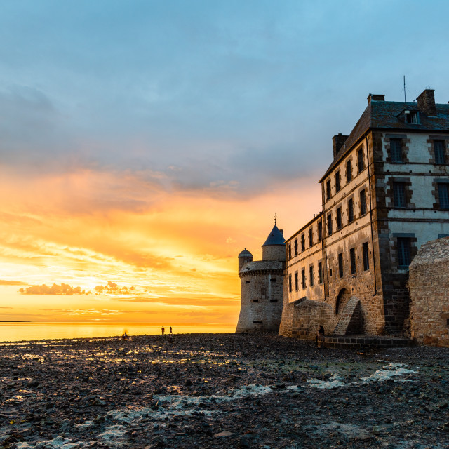 """Dramatic sunset on Mont Saint Michel, Brittany"" stock image"