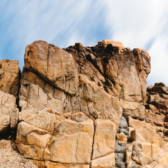 """Rock formation against sky in Sillon de Talbert area"" stock image"