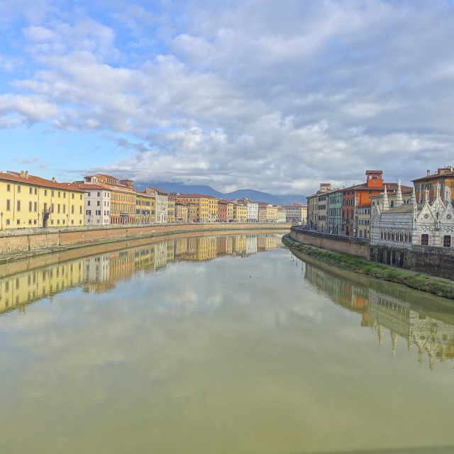 """""""Colorful old houses in Pisa, Tuscany, Italy"""" stock image"""